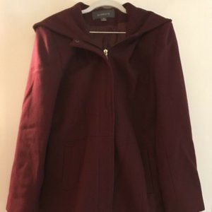 Womens Liz Claiborne Wool Coat Jacket Red